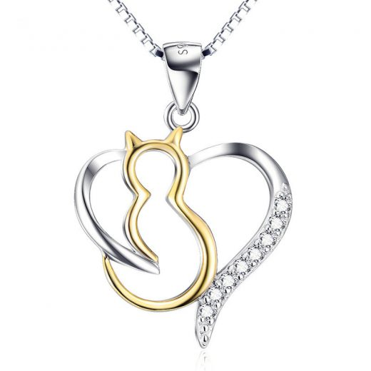 collier pendentif chat coeur d'or